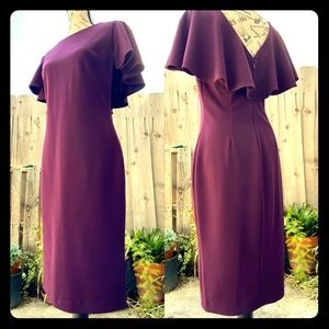 CK Purple Cocktail Dress with Back Ruffle